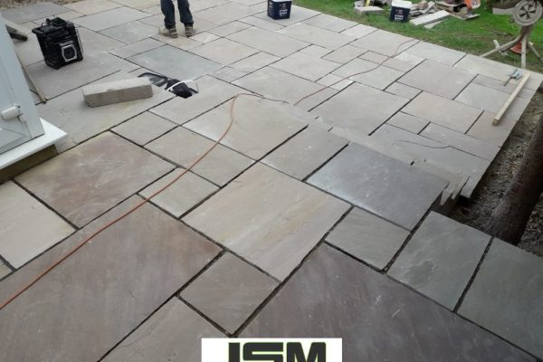Patio Built With Indian Sandstone in Milton Keynes